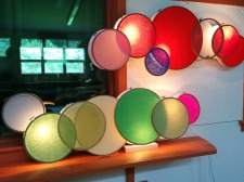Wall lights out of embroider hoops, so simple so brilliant!
