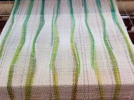 "Ondulé rainbow on the loom. My ""green"" day."
