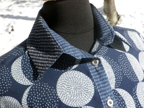 Embroidered moon shirt, collar and buttons