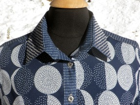 Embroidered moon shirt collar detail