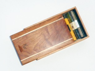Hand carved box custom sized to fit pocket memo books.