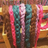 Yarn braids all measured and waiting to be warped on the loom.